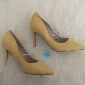 PRIMARK Yellow faux suede heels